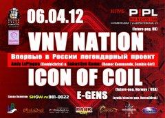 Отчёт: концерт VNV Nation, Icon Of Coil и e-gens в Москве (06.04.2012)